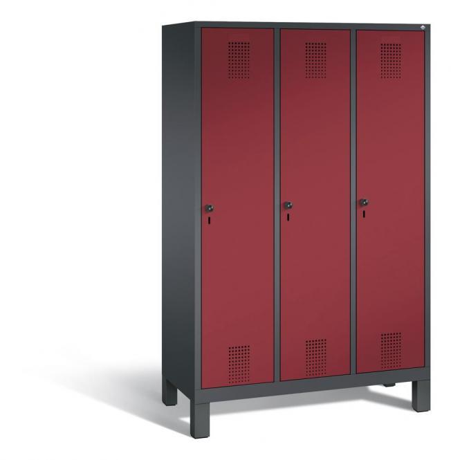 Garderoben-Stahlspind SERIE EVOLO mit Füßen Rubinrot RAL 3003 | 400 | 3 | Anthrazit RAL 7021