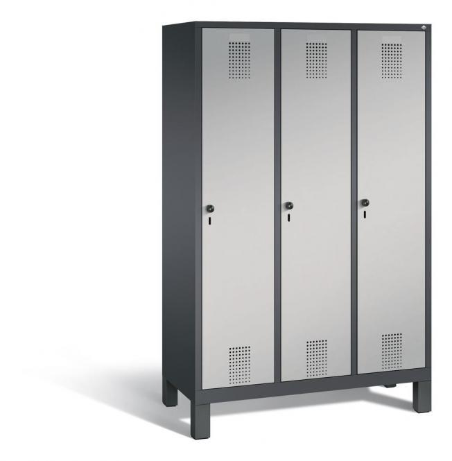 Garderoben-Stahlspind SERIE EVOLO mit Füßen Alusilber RAL 9006 | Anthrazit RAL 7021 | 400 | 3
