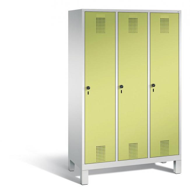 Garderoben-Stahlspind SERIE EVOLO mit Füßen Apfelgrün   Lichtgrau RAL 7035   400   3