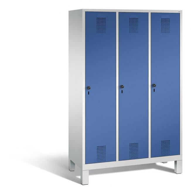 Garderoben-Stahlspind SERIE EVOLO mit Füßen Enzianblau RAL 5010 | Lichtgrau RAL 7035 | 400 | 3