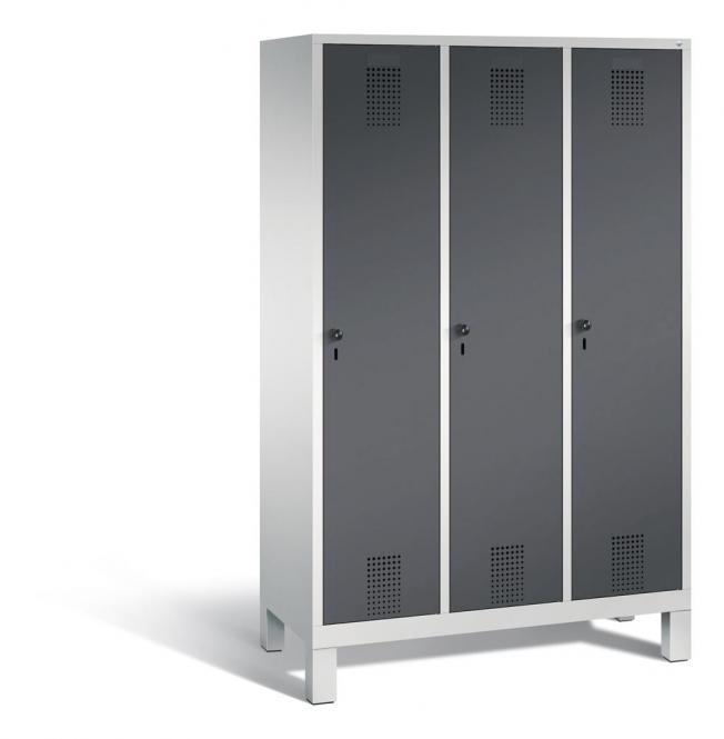 Garderoben-Stahlspind SERIE EVOLO mit Füßen Anthrazit RAL 7021 | Lichtgrau RAL 7035 | 400 | 3