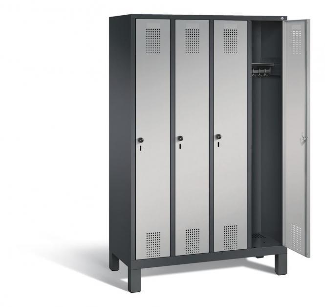 Garderoben-Stahlspind SERIE EVOLO mit Füßen Alusilber RAL 9006 | 300 | 4 | Anthrazit RAL 7021