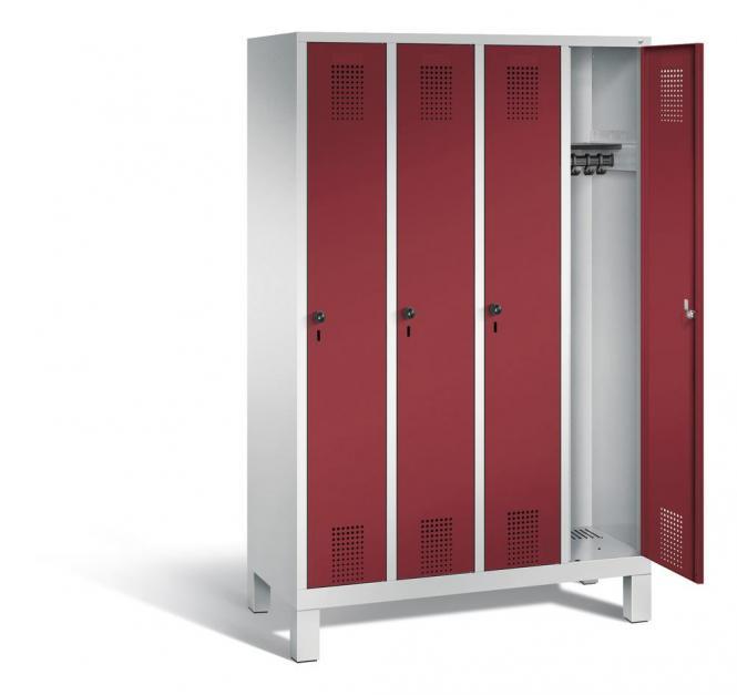 Garderoben-Stahlspind SERIE EVOLO mit Füßen Rubinrot RAL 3003 | 300 | 4 | Lichtgrau RAL 7035
