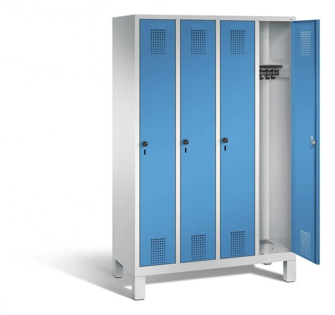 Garderoben-Stahlspind SERIE EVOLO mit Füßen Lichtblau RAL 5012   300   4   Lichtgrau RAL 7035