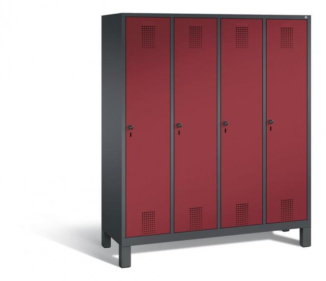 Garderoben-Stahlspind SERIE EVOLO mit Füßen Rubinrot RAL 3003 | Anthrazit RAL 7021 | 400 | 4