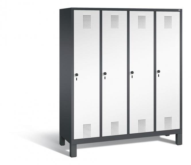 Garderoben-Stahlspind SERIE EVOLO mit Füßen Verkehrsweiß RAL 9016 | Anthrazit RAL 7021 | 400 | 4
