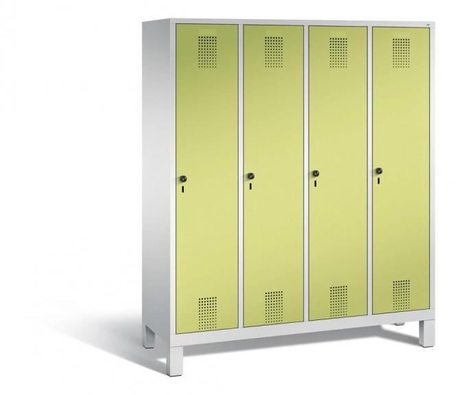 Garderoben-Stahlspind SERIE EVOLO mit Füßen Apfelgrün | Lichtgrau RAL 7035 | 400 | 4