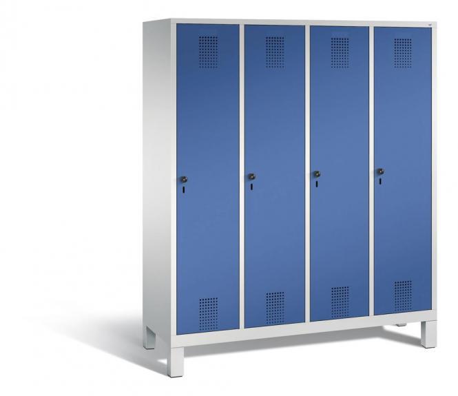 Garderoben-Stahlspind SERIE EVOLO mit Füßen Enzianblau RAL 5010 | Lichtgrau RAL 7035 | 400 | 4