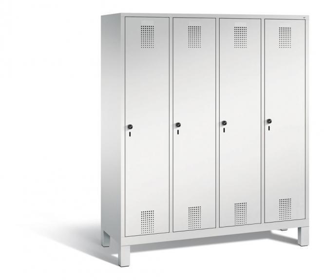Garderoben-Stahlspind SERIE EVOLO mit Füßen Lichtgrau RAL 7035   Lichtgrau RAL 7035   400   4