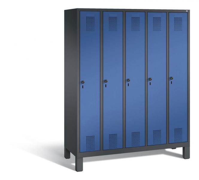 Garderoben-Stahlspind SERIE EVOLO mit Füßen Enzianblau RAL 5010 | Anthrazit RAL 7021 | 300 | 5