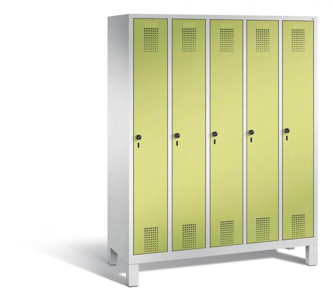 Garderoben-Stahlspind SERIE EVOLO mit Füßen Apfelgrün | 300 | 5 | Lichtgrau RAL 7035