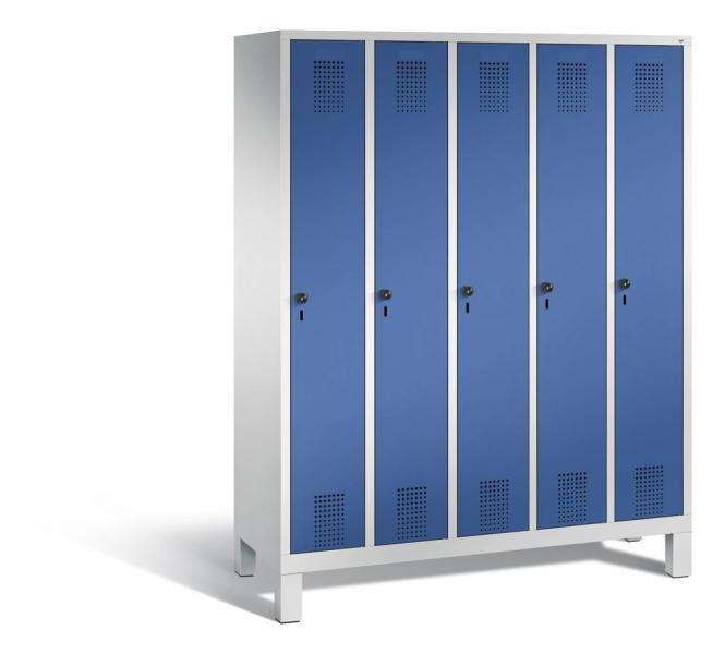Garderoben-Stahlspind SERIE EVOLO mit Füßen Enzianblau RAL 5010   Lichtgrau RAL 7035   300   5