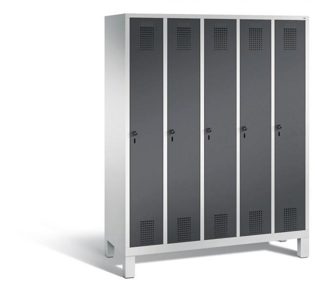 Garderoben-Stahlspind SERIE EVOLO mit Füßen Anthrazit RAL 7021 | 300 | 5 | Lichtgrau RAL 7035