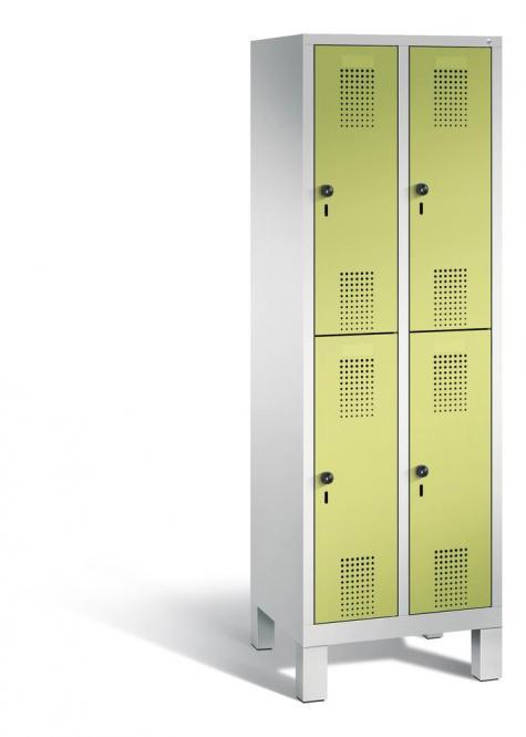 Doppelstöckiger Garderobenspind EVOLO mit Füßen Apfelgrün | 300 | 4 | Lichtgrau RAL 7035