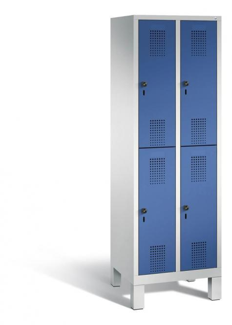 Doppelstöckiger Garderobenspind EVOLO mit Füßen Enzianblau RAL 5010 | 300 | 4 | Lichtgrau RAL 7035
