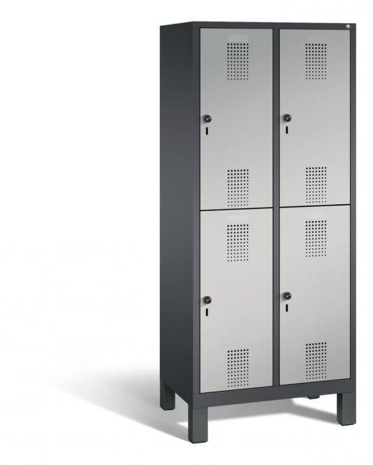 Doppelstöckiger Garderobenspind EVOLO mit Füßen Alusilber RAL 9006 | 400 | 4 | Anthrazit RAL 7021