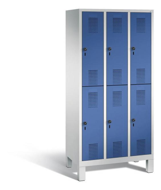 Doppelstöckiger Garderobenspind EVOLO mit Füßen Enzianblau RAL 5010 | Lichtgrau RAL 7035 | 300 | 6