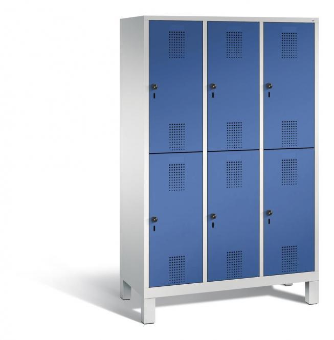 Doppelstöckiger Garderobenspind EVOLO mit Füßen Enzianblau RAL 5010 | Lichtgrau RAL 7035 | 400 | 6