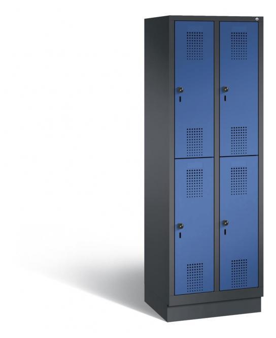 Doppelstöckiger Garderobenspind EVOLO mit Sockel Enzianblau RAL 5010 | 300 | 4 | Anthrazit RAL 7021