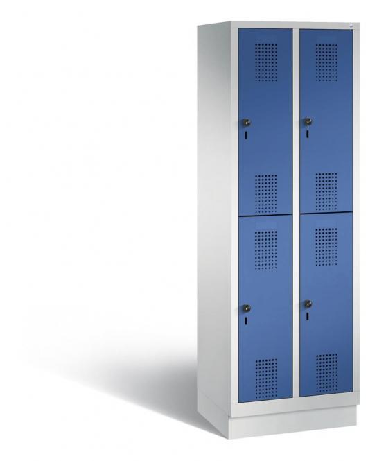 Doppelstöckiger Garderobenspind EVOLO mit Sockel Enzianblau RAL 5010 | 300 | 4 | Lichtgrau RAL 7035