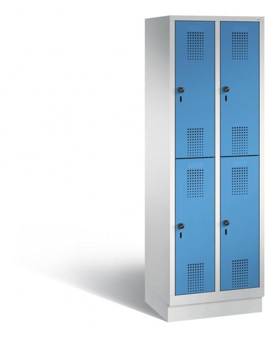 Doppelstöckiger Garderobenspind EVOLO mit Sockel Lichtblau RAL 5012 | 300 | 4 | Lichtgrau RAL 7035