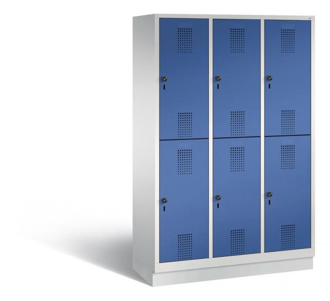 Doppelstöckiger Garderobenspind EVOLO mit Sockel Enzianblau RAL 5010 | 400 | 6 | Lichtgrau RAL 7035