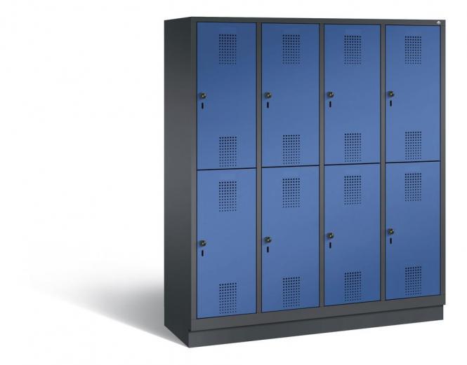 Doppelstöckiger Garderobenspind EVOLO mit Sockel Enzianblau RAL 5010 | 400 | 8 | Anthrazit RAL 7021