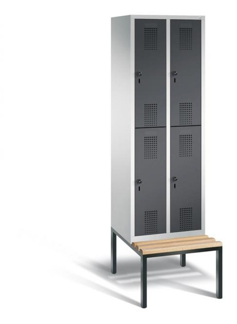Doppelstöckiger Garderobenspind EVOLO mit Sitzbank Anthrazit RAL 7021 | Lichtgrau RAL 7035 | 300 | 4