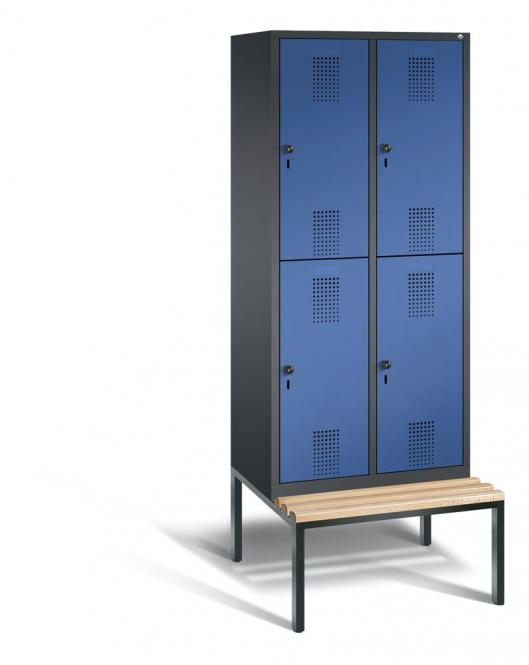Doppelstöckiger Garderobenspind EVOLO mit Sitzbank Enzianblau RAL 5010 | 400 | 4 | Anthrazit RAL 7021