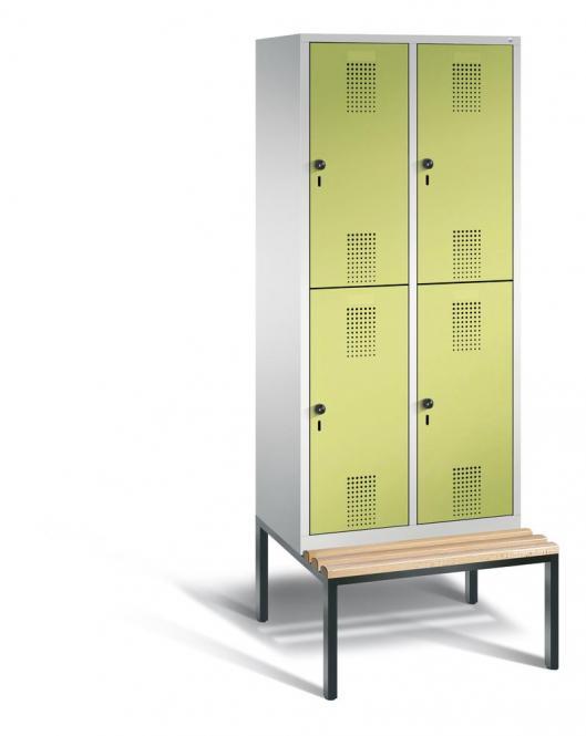 Doppelstöckiger Garderobenspind EVOLO mit Sitzbank Apfelgrün | 400 | 4 | Lichtgrau RAL 7035