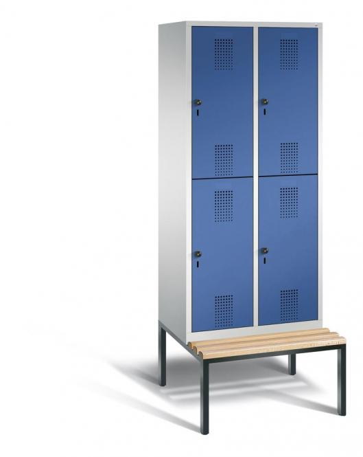 Doppelstöckiger Garderobenspind EVOLO mit Sitzbank Enzianblau RAL 5010 | 400 | 4 | Lichtgrau RAL 7035