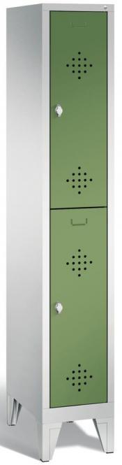 Doppelstöckiger Garderobenspind CLASSIC mit Füßen Resedagrün RAL 6011 | mit Füßen | 300 | 2
