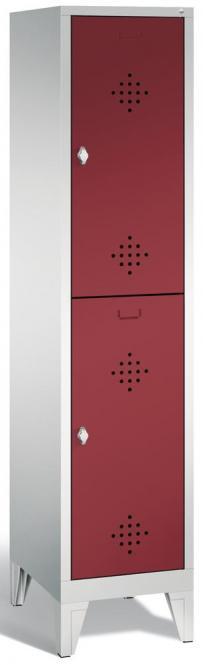 Doppelstöckiger Garderobenspind CLASSIC mit Füßen Rubinrot RAL 3003 | mit Füßen | 400 | 2