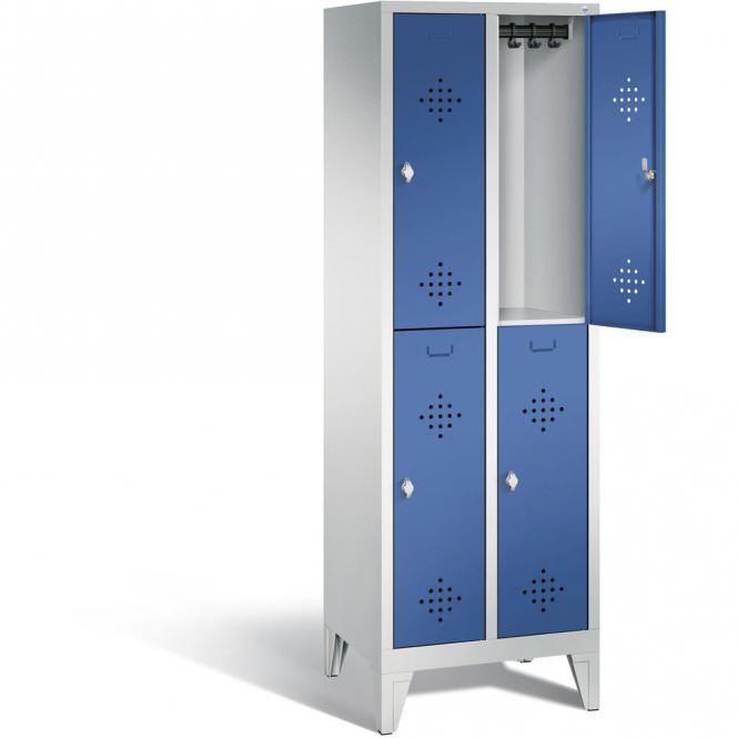 Doppelstöckiger Garderobenspind CLASSIC mit Füßen Enzianblau RAL 5010 | 300 | 4