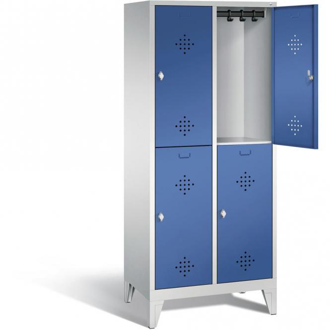 Doppelstöckiger Garderobenspind CLASSIC mit Füßen Enzianblau RAL 5010   400   4