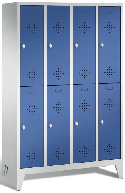 Doppelstöckiger Garderobenspind CLASSIC mit Füßen Enzianblau RAL 5010 | 300 | 8