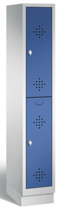 Doppelstöckiger Garderobenspind CLASSIC mit Sockel Enzianblau RAL 5010   mit Sockel   300   2