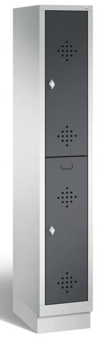 Doppelstöckiger Garderobenspind CLASSIC mit Sockel Anthrazit RAL 7021 | 300 | 2