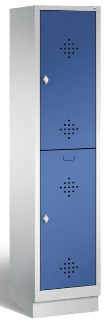 Doppelstöckiger Garderobenspind CLASSIC mit Sockel Enzianblau RAL 5010 | 400 | 2