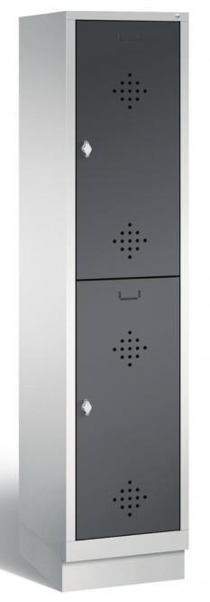 Doppelstöckiger Garderobenspind CLASSIC mit Sockel Anthrazit RAL 7021   400   2