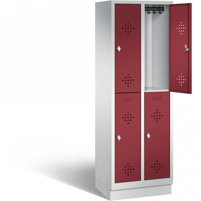 Doppelstöckiger Garderobenspind CLASSIC mit Sockel Rubinrot RAL 3003   300   4