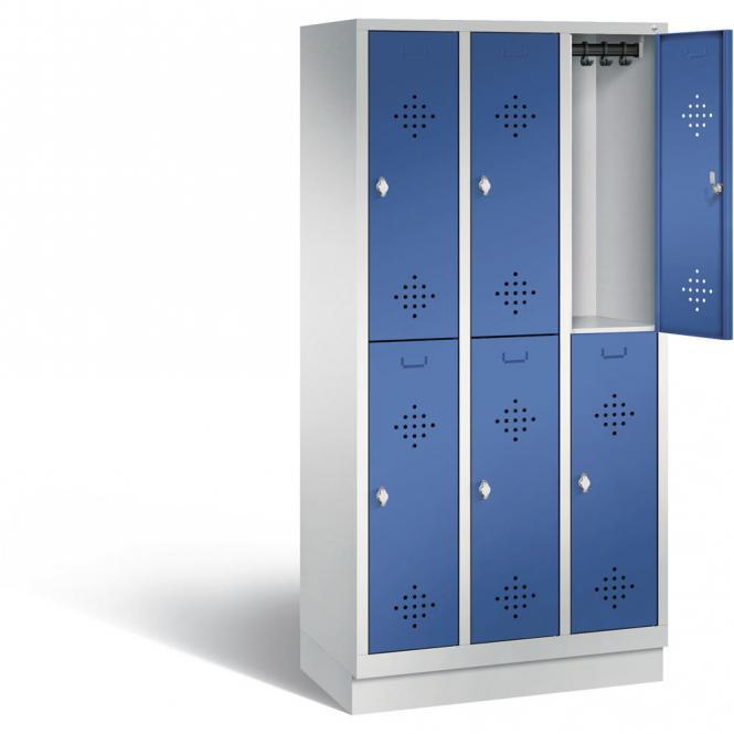 Doppelstöckiger Garderobenspind CLASSIC mit Sockel Enzianblau RAL 5010 | mit Sockel | 300 | 6