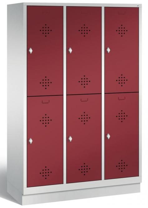 Doppelstöckiger Garderobenspind CLASSIC mit Sockel Rubinrot RAL 3003 | mit Sockel | 400 | 6