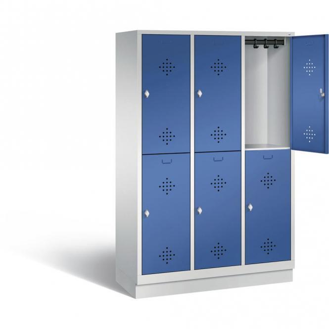 Doppelstöckiger Garderobenspind CLASSIC mit Sockel Enzianblau RAL 5010 | mit Sockel | 400 | 6