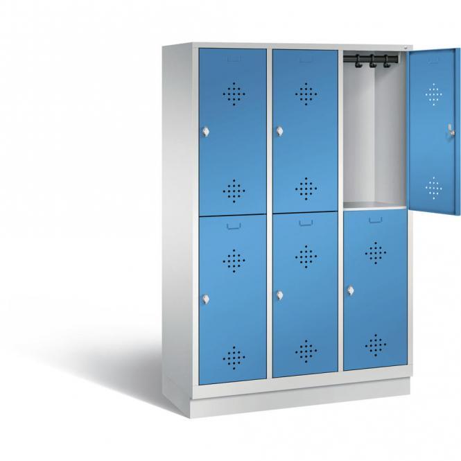 Doppelstöckiger Garderobenspind CLASSIC mit Sockel Lichtblau RAL 5012 | 400 | 6