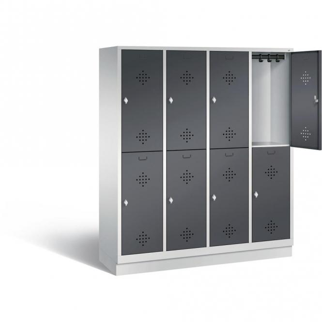 Doppelstöckiger Garderobenspind CLASSIC mit Sockel Anthrazit RAL 7021 | mit Sockel | 400 | 8