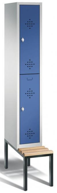 Doppelstöckiger Spind CLASSIC mit Sitzbank Enzianblau RAL 5010 | 300 | 2