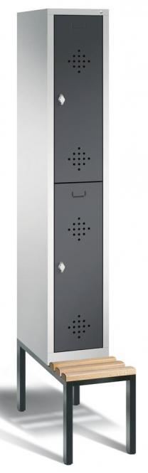 Doppelstöckiger Spind CLASSIC mit Sitzbank Anthrazit RAL 7021 | 300 | 2 | mit untergebauter Sitzbank, Holzleisten