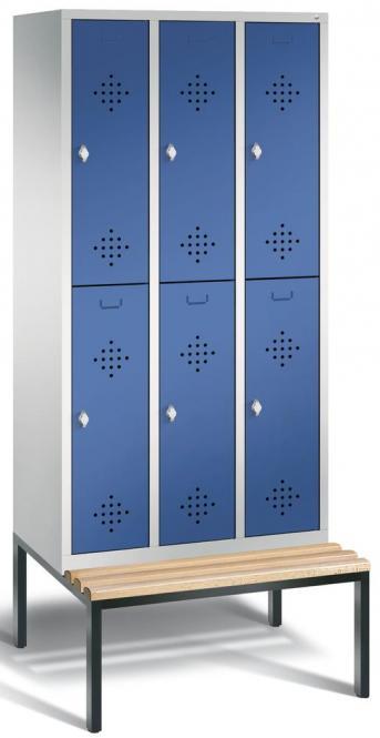 Doppelstöckiger Spind CLASSIC mit Sitzbank Enzianblau RAL 5010 | 300 | 6 | mit untergebauter Sitzbank, Holzleisten