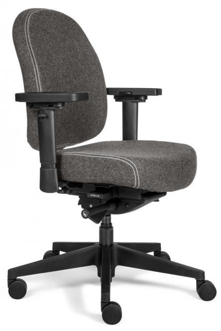 Bürodrehstuhl SenseFIT DV mit Armlehnen Grau | Standard Rückenlehne, Polyamid-Fußkreuz schwarz